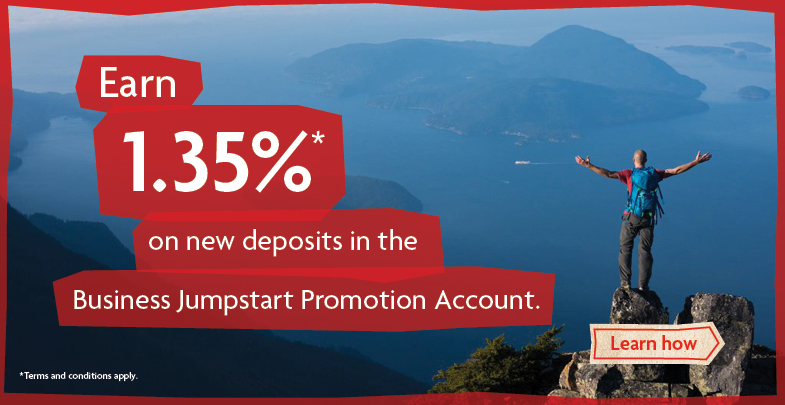 Earn 1.35% on new deposits in the Business Jumpstart Promotion Account.