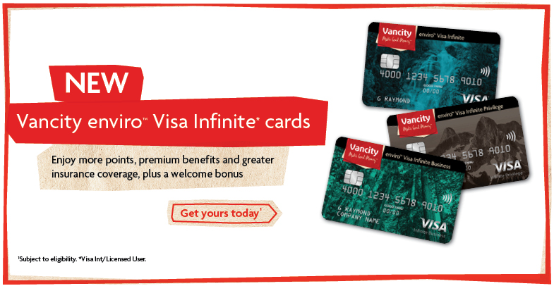 New Vancity enviro™ Visa Infinite* cards