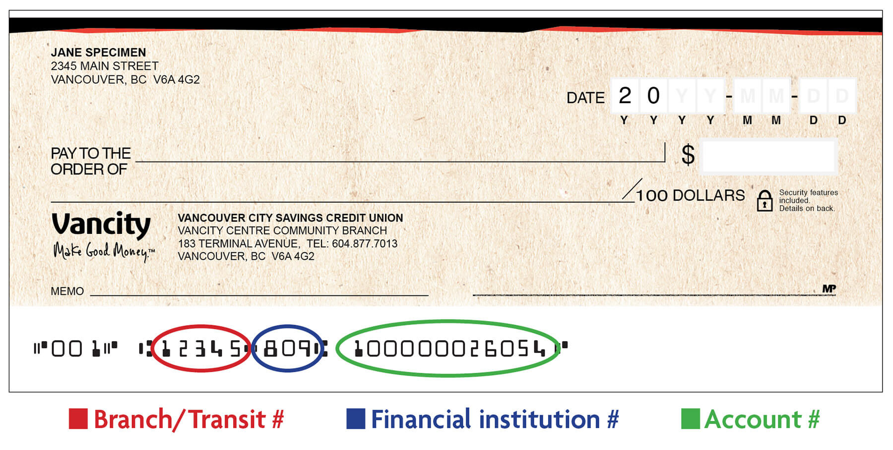 Cheque transit number