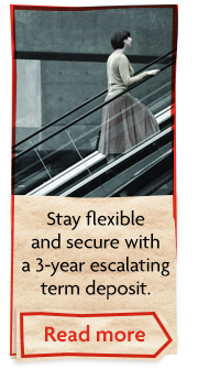 Stay flexible and secure with a 3-year escalating term deposit